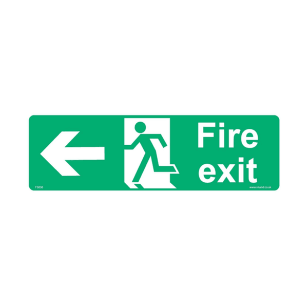 Maxigo Fire Exit In Left Sticker 400 x 150 mm (Pack Of 5)