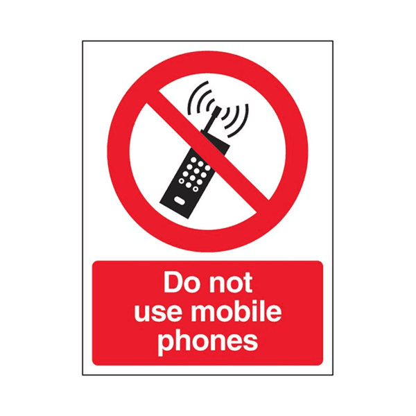 "Maxigo Do Not Use Mobile Phones Sticker 10""x7""  mm (Pack Of 5)"