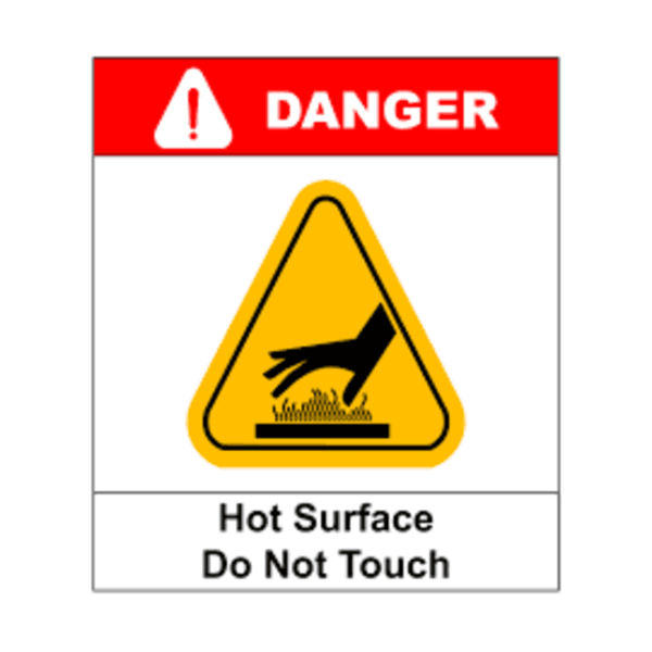 Maxigo Danger Hot Surface Do Not Touch Sticker 20x15 cms (Pack Of 5)