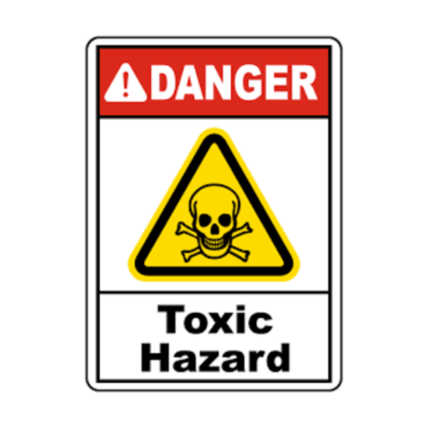 Maxigo Danger Toxic Hazard Sticker 190 x 260 mm (Pack Of 5)