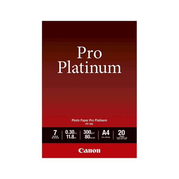 Canon Photo Paper Pro Platinum Size-A4 Sheets 20 PT-101 (Pack of 5)