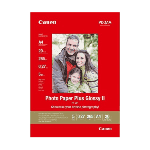 Canon Photo Paper Plus Glossy Size-4x6 Inch Sheets 20 II PP-201 (Pack of 5)