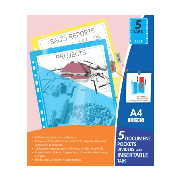 Solo 5 Document Pockets Dividers With Insertable Tabs DD105