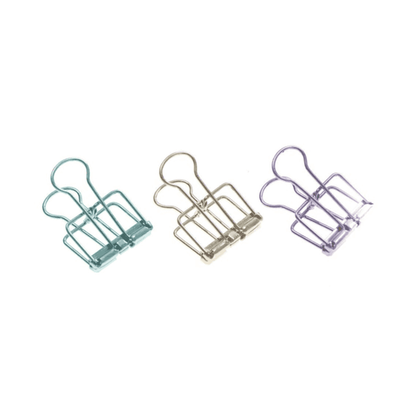Tadico Unique Solid Color Hollow Out Metal Binder Clips  @(Pack of 50)