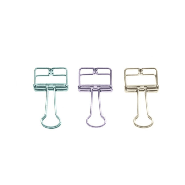 Tadico Unique Solid Color Hollow Out Metal Binder Clips -W (Pack of 50)
