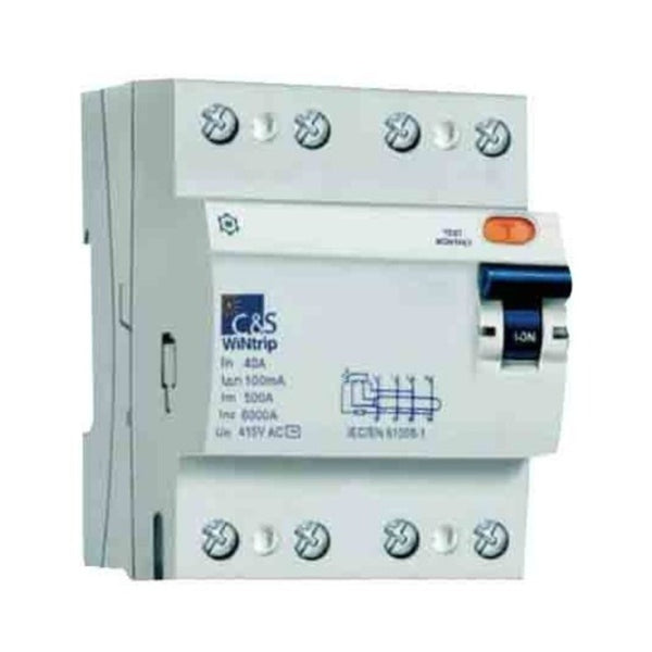 C&S Residual Current Circuit Breaker 4 Pole 100mA
