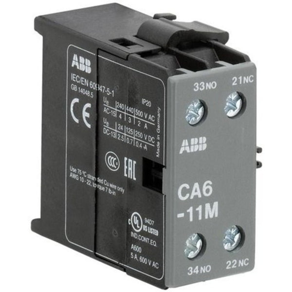 ABB CA6-11M Auxiliary Contact Blocks For Mini Contactors 6A GJL1201317R0003