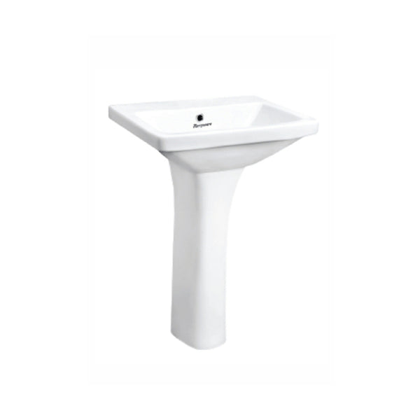Parryware Qube X Basin With Long Pedestal White C847N46