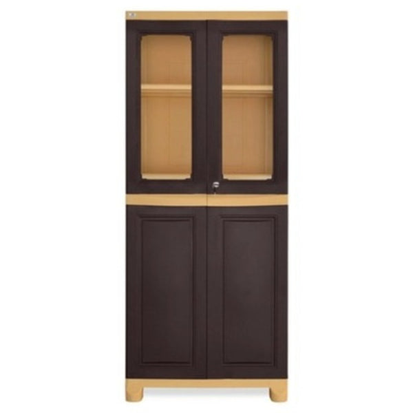 Nilkamal Freedom Big 2 (FB2) Plastic Storage Cabinet(Weather Brown & Biscuit)