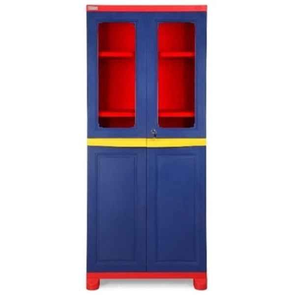 Nilkamal Freedom Big 2 (FB2) Plastic Storage Cabinet (Pepsi Blue, Bright Red & Yellow)
