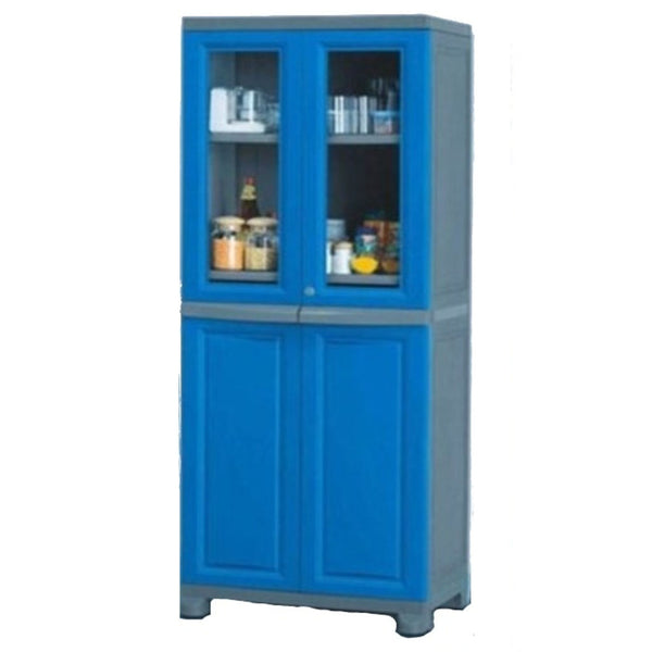 Nilkamal Freedom Big 2 (FB2) Plastic Storage Cabinet (Deep Blue & Grey)