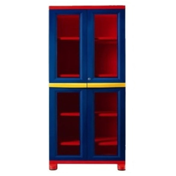Nilkamal Freedom Big 3 (FB3) Plastic Storage Cabinet  (Pepsi Blue, Bright Red & Yellow)