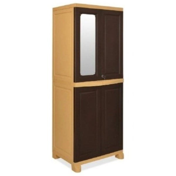 Nilkamal Freedom Big (FB1M)  Plastic Storage Cabinet With 1 Mirror (Weather Brown & Biscuit)