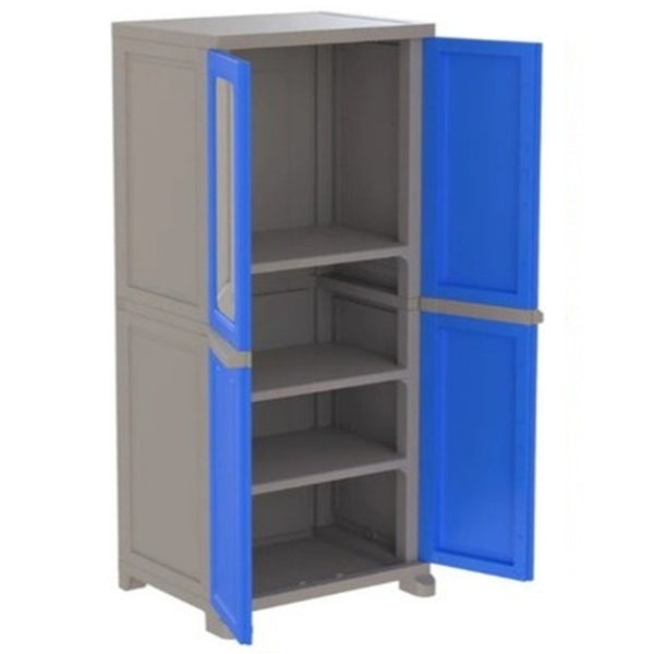 Nilkamal Freedom Big (FB1M)  Plastic Storage Cabinet With 1 Mirror (Deep Blue & Grey)