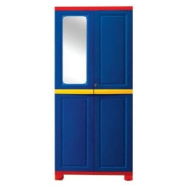 Nilkamal Freedom Big (FB1M)  Plastic Storage Cabinet With 1 Mirror(Pepsi Blue, Bright Red & Yellow)