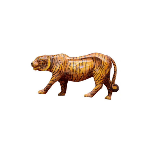 Suncity Decor Vintage Antique Handmade Tiger Wooden Sculpture
