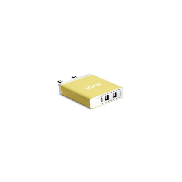 Mivi 3.1A Dual Port Smart Wall Charge Adaptor Yellow WC231