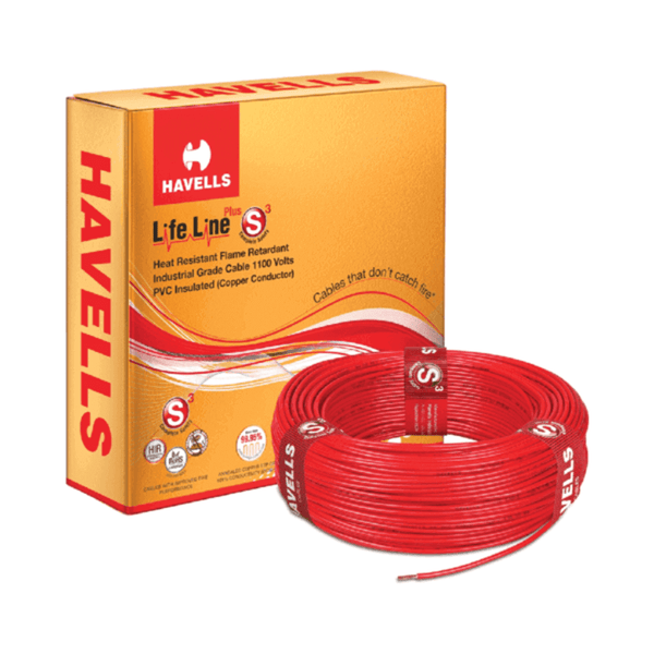 Havells Life Line Plus S3 Single Core Heat Resistant Flame Retardant PVC Insulated Industrial Cables – 90 meters