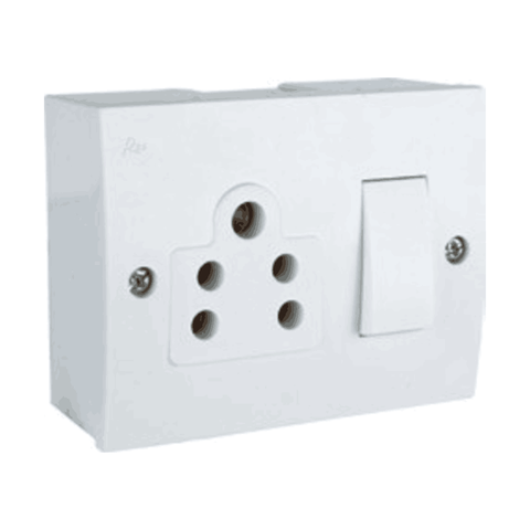 Havells Reo 6 Amp Switch Socket Combined with Box - AHETWXW062