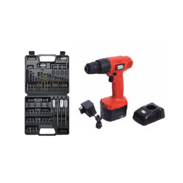 Black & Decker 10mm Cordless Drill / Driver Kit CD121K50 (12 V, 0 – 1200 rpm)