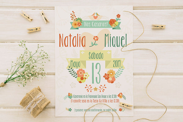 "Invitación de Boda ""Orange floral"""