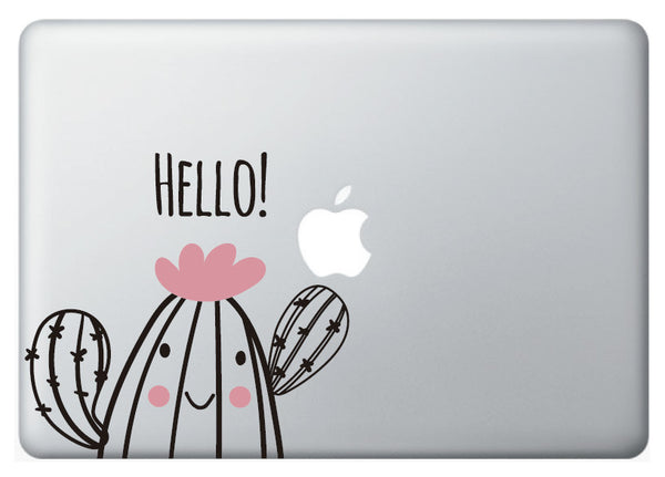 "Vinilo decorativo ""Hello Cactus"" para Macbook"