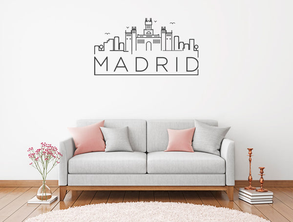 Vinilo Decorativo Skyline Madrid para Pared