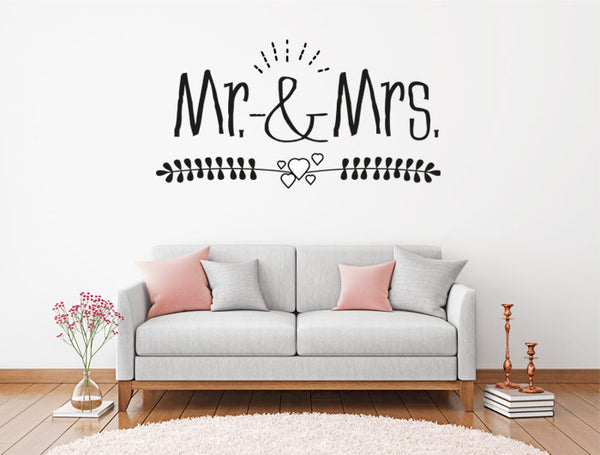 Vinilo Decorativo Mr&Mrs Para Pared