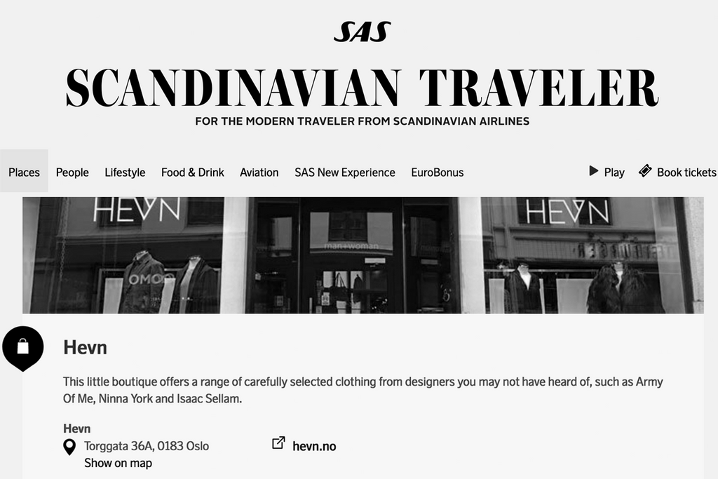 HEVN is recommended in the SAS Scandinavian Traveler Magazine