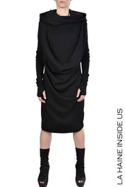 Juniel front draped hooded dress