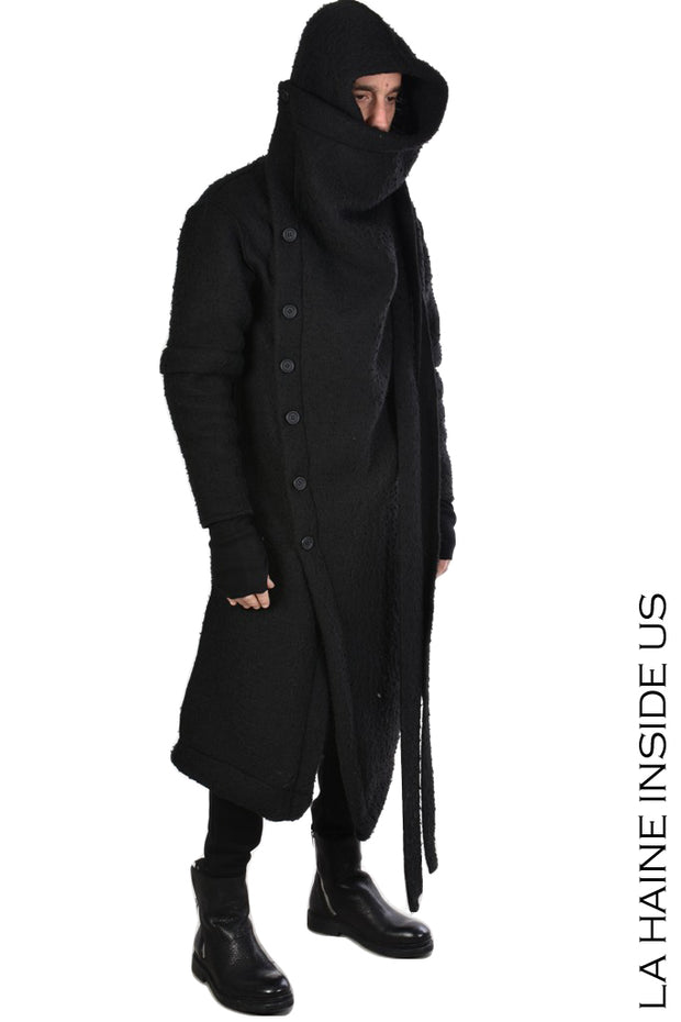 Posse asymmetric hooded coat