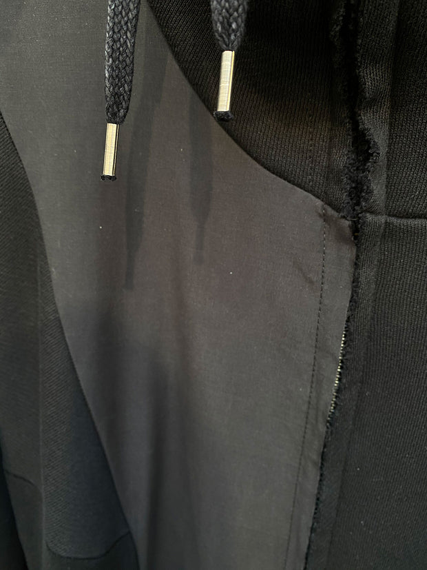 Long paneled zip up hoodie