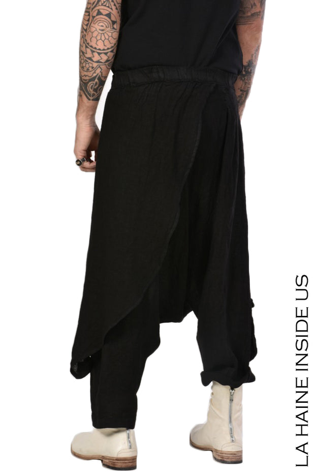 Kaerb drop crotch linen trousers
