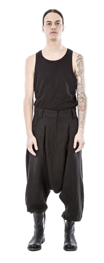Pleated linen blend trousers