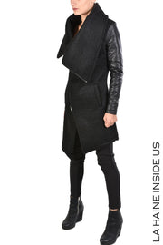 Mixit leather sleeved coat