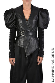 Semia puff leather jacket