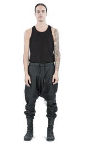 Drop crotch coated linen trousers