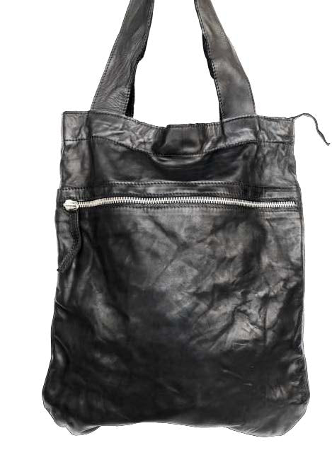Leather zip tote bag