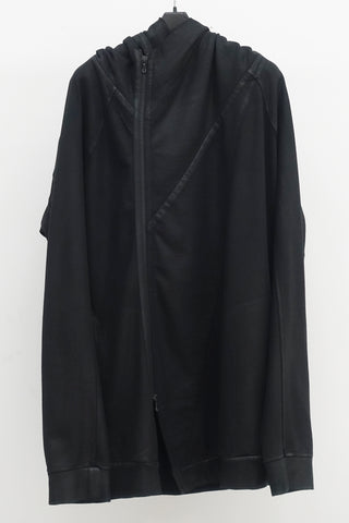 JULIUS Coated draped neck hoodie