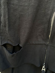 Long distressed hoodie