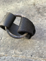 Silver O ring leather bracelet