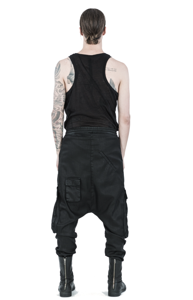 Drop crotch denim cargo trousers