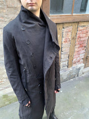 Layered linen blend coat