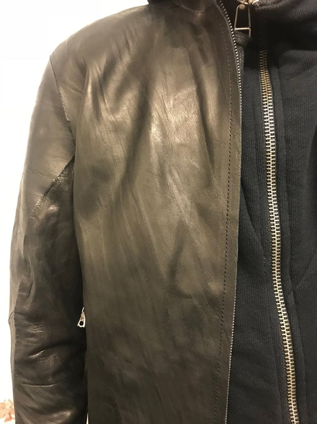 Seamless crasse-pouille leather jacket
