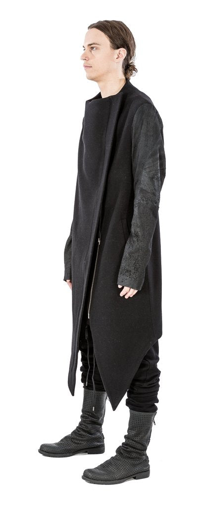 Leather sleeved wool coat