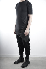 Paneled asymmetric tee