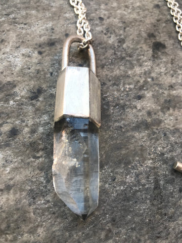 Small talisman quartz crystal necklace