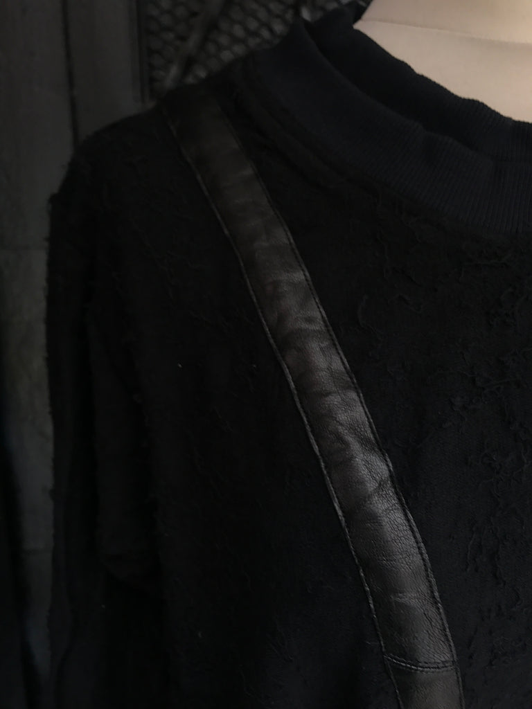 Leather detail sweater