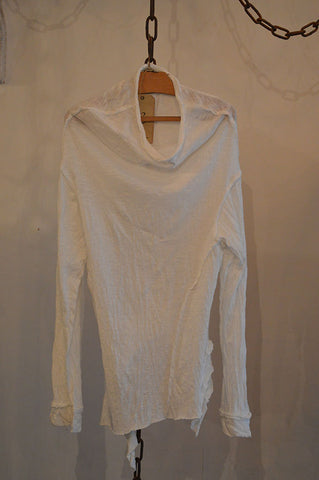 Cowl neck raw edge sweater