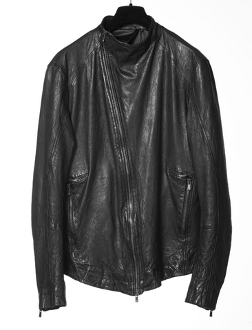 Small collar leather jacket